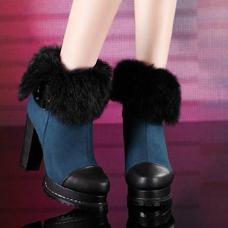 莫蕾蔻蕾 冬新款拼色高跟女鞋粗跟防水台短靴时装靴女靴
