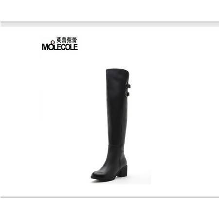 莫蕾蔻蕾 冬季新款简约高跟粗跟女鞋过膝靴长筒靴女靴