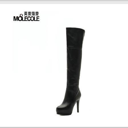 莫蕾蔻蕾 秋冬新款欧美范女靴过膝长靴子高跟细跟真皮女鞋