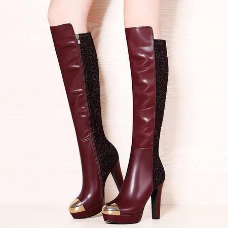 莫蕾蔻蕾 冬季新款高跟鞋粗跟女鞋欧美骑士靴长靴女靴