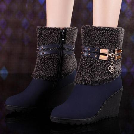 莫蕾蔻蕾 韩版时尚性感保暖女鞋防水女靴台坡跟高跟流苏女鞋