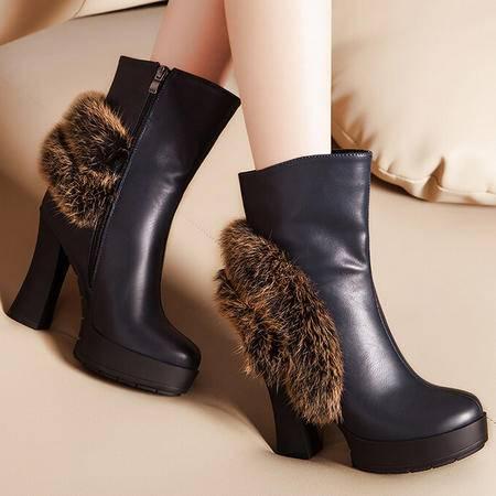 莫蕾蔻蕾冬新款欧美高跟鞋粗跟女鞋兔毛短靴时装靴女靴