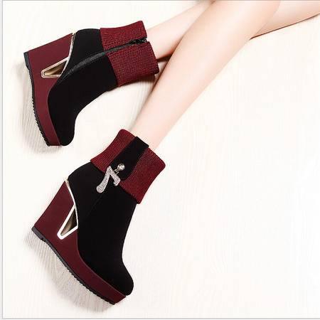 莫蕾蔻蕾 秋冬新款欧美高跟鞋坡跟女鞋时装靴中筒靴女靴