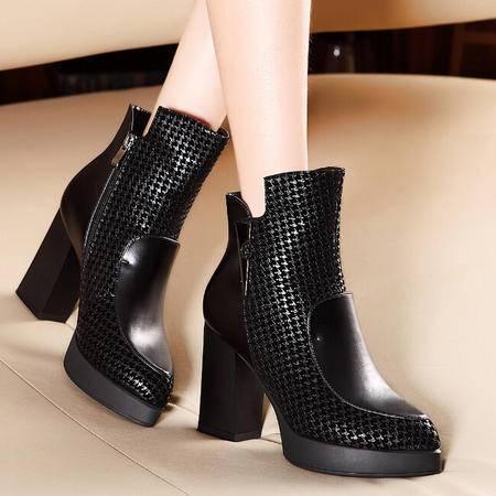 莫蕾蔻蕾 冬季新款高跟方跟女鞋马丁靴防水台短靴女靴