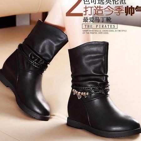 莫蕾蔻蕾 冬季新款内增高中跟粗跟女鞋短靴马丁靴女靴子
