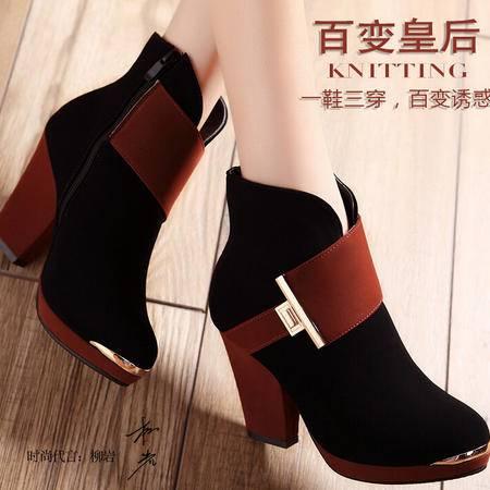 莫蕾蔻蕾 秋冬粗跟侧拉链蝴蝶结拼色短靴高跟女鞋时装靴