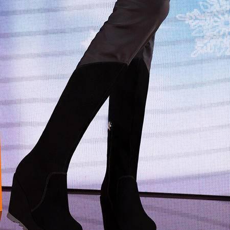 莫蕾蔻蕾 冬季新款女靴子骑士靴高跟坡跟过膝长靴休闲女鞋
