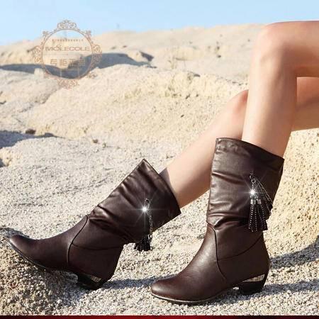 莫蕾蔻蕾 秋冬新款粗跟女鞋中筒靴英伦范短靴保暖女靴