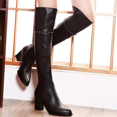 莫蕾蔻蕾  秋冬新款高跟粗跟女鞋过膝靴长靴高筒靴女靴