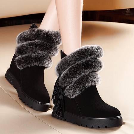 莫蕾蔻蕾 冬季新款平底高跟内增高女鞋子短靴时装靴女靴