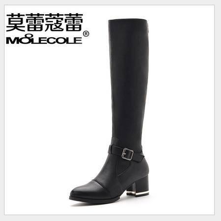 莫蕾蔻蕾 新款长筒女靴粗跟尖头高跟长靴女红色弹力靴女