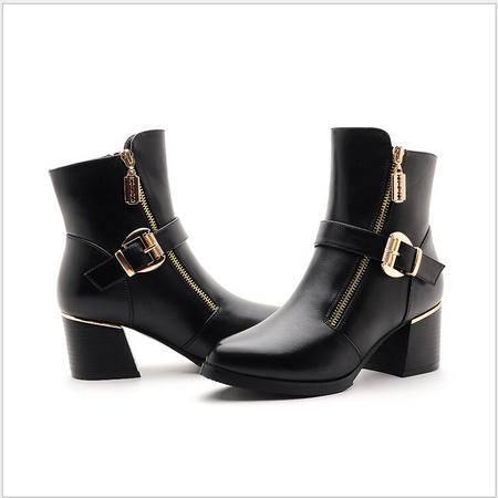 莫蕾蔻蕾 冬季新款中跟粗跟女鞋舒适马丁靴女靴短靴子