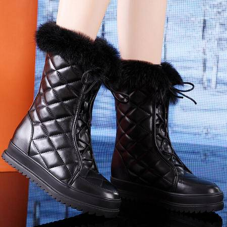 莫蕾蔻蕾 冬季新款雪地靴 松糕跟女靴子 中跟中筒靴女鞋