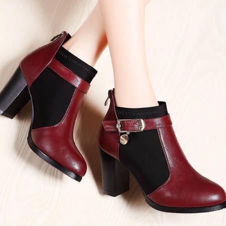 莫蕾蔻蕾 新款秋冬秋季新款坡跟裸靴水钻高跟时装靴女鞋子