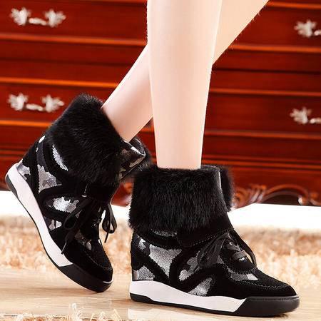 莫蕾蔻蕾 秋冬新款平底内增高单鞋女休闲牛皮高帮鞋魔术贴板鞋