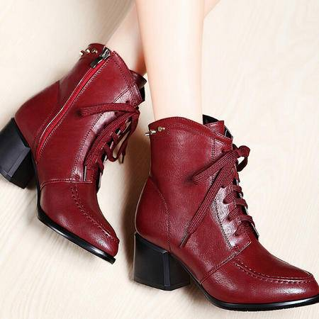莫蕾蔻蕾 秋冬新款尖头高跟鞋女鞋粗跟女靴子短靴马丁靴