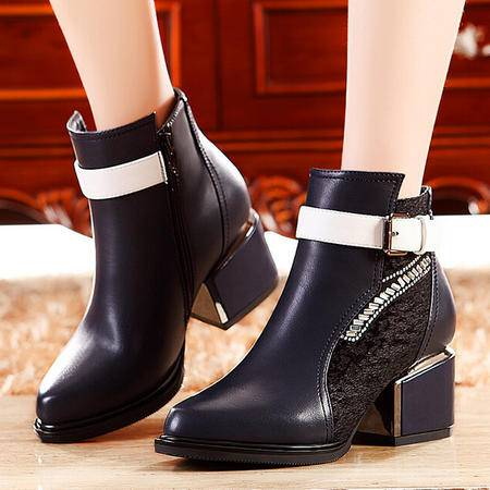 莫蕾蔻蕾 秋冬新款英伦高跟鞋女鞋粗跟女靴短靴子马丁靴