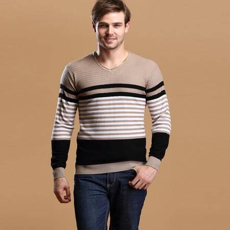 秋季新款男士针织衫 长袖V领条纹潮男线衫 男式套头羊毛衫