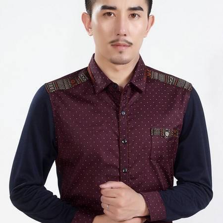秋新款商务男式衬衫 男士长袖衬衣 印花男衬衫