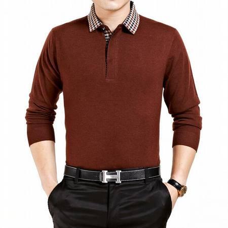 冬新款100%男士纯羊毛线衫 翻领男式大码纯色长袖毛衣加厚