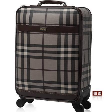 正品复古旅行拉杆箱男 万向轮行李箱女格纹拖箱PVC防水登机箱