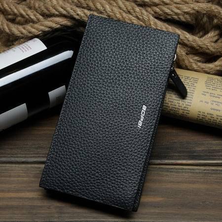 男士钱包三折大容量皮夹 高端韩版真皮长款多卡位钱夹