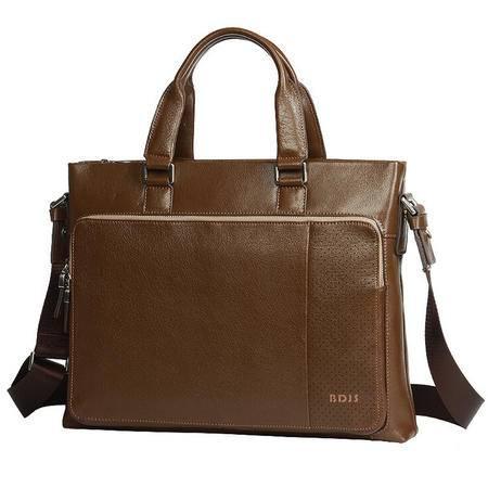 时尚棕色男士商务包横款 高档真皮男包头层牛皮公文手提包