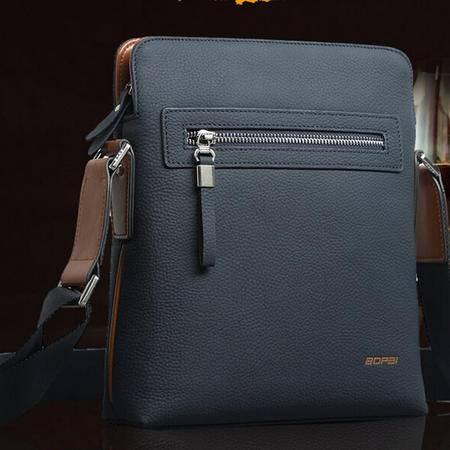 真皮竖款单肩包男 韩版时尚头层牛皮男士斜挎包 蓝色休闲小包