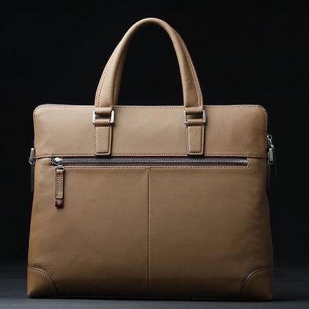 英伦男士牛皮横款商务包 真皮时尚手提公文包高档男士包包