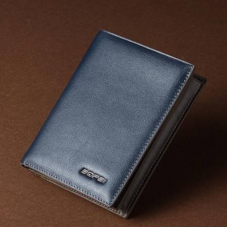 韩版头层牛皮男士钱包 真皮蓝色时尚皮夹长短款撞色钱夹