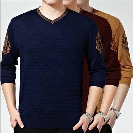 韩版时尚男士针织衫 男式V领长袖提花男毛线衫