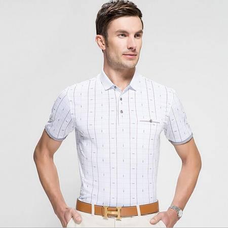2015年夏季新款男式短袖t恤 商务中年男士T恤套头衫