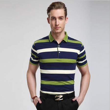 男士短袖t恤 新款夏装男体恤衫 商务大码男式套头t恤 条纹宽松男