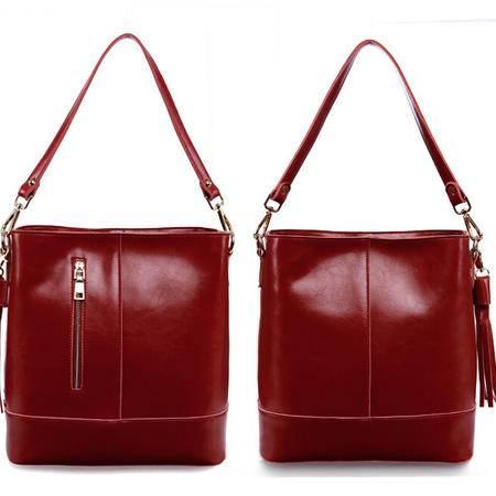 2015新款时尚欧美品牌真皮女包牛皮包包单肩包手提包水桶包