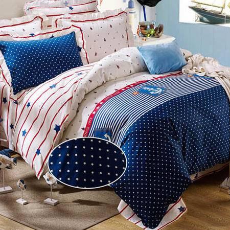 2015 全棉斜纹半活性印花花边枕套床单床上用品四件套