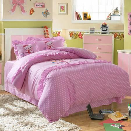 2015 全棉活性印花加绣花儿童床上用品四件套