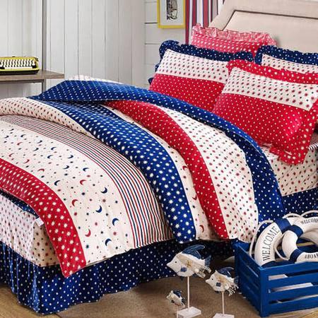 2015 全棉斜纹半活性印花床上用品花边枕套床裙四件套