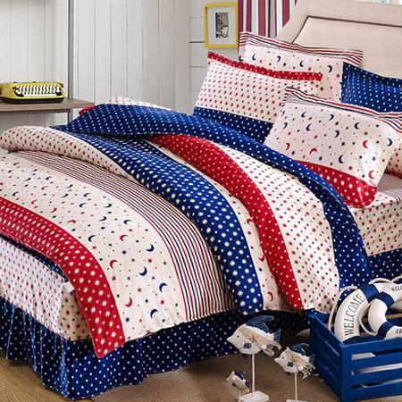 2015 全棉斜纹半活性印花床上用品床裙四件套