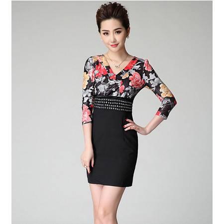 2015夏季新款高档女装OL通勤钉珠短袖品牌连衣裙