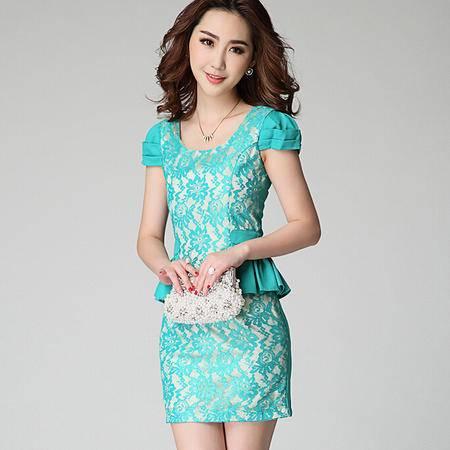 2015 夏季女装OL通勤职业装收腰短袖蕾丝连衣裙