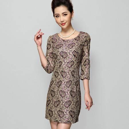 2015欧美品牌中年女装春季新款立体蕾丝绣花大码中袖连衣裙