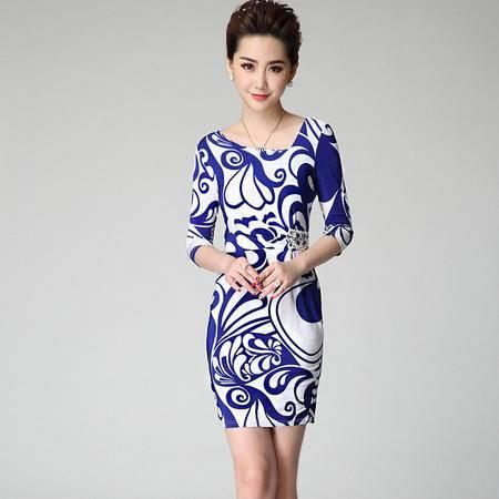 2015春夏新款品牌女装OL通勤青花瓷印花修身连衣裙