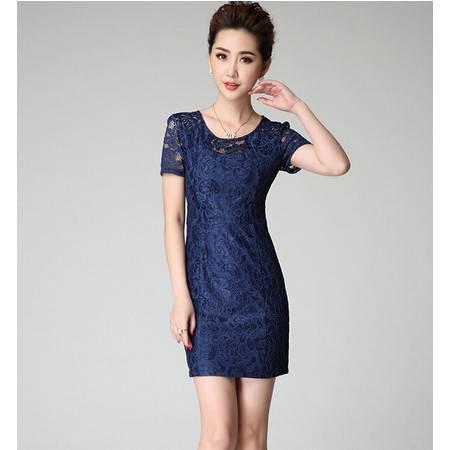 2015欧美女装夏装新款高端镂空绣花修身通勤短袖连衣裙女