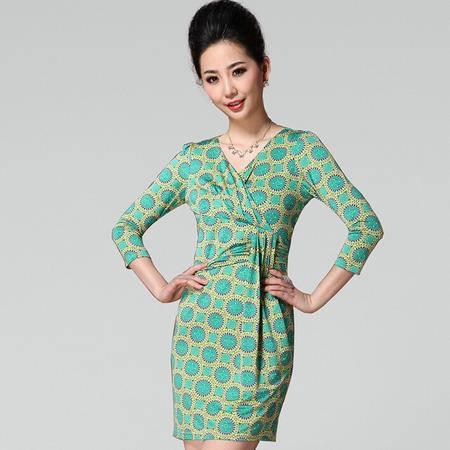 2015春季新款欧美女装太阳花几何图案皱褶包臀七分袖连衣裙