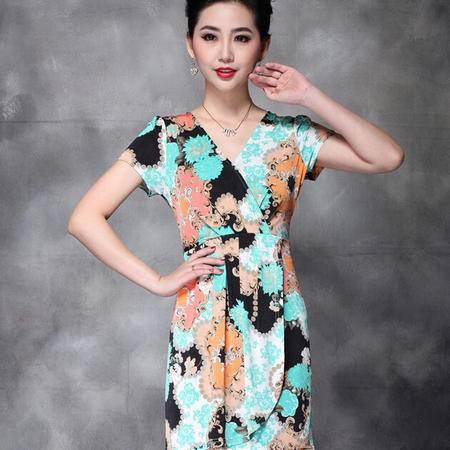 欧美夏装新款时尚印花优雅修身连衣裙