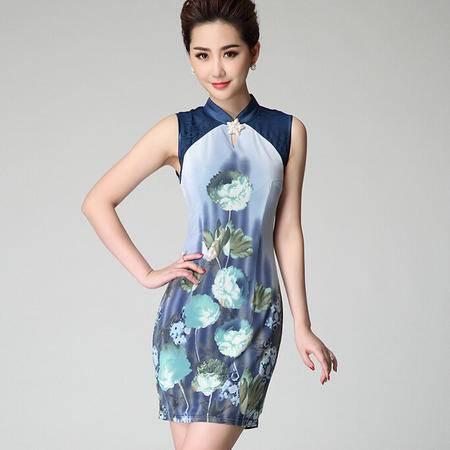 2015夏装新款定位蕾丝拼接优雅复古修身背心旗袍式连衣裙