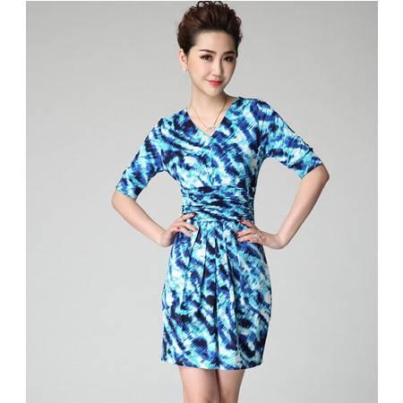 2015夏装新款欧美女装褶皱假腰带设计大码修身中袖连衣裙