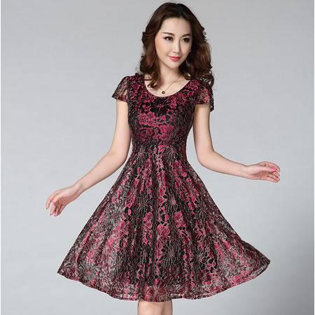 2015夏装新款女装 高档金线蕾丝短袖大摆连衣裙