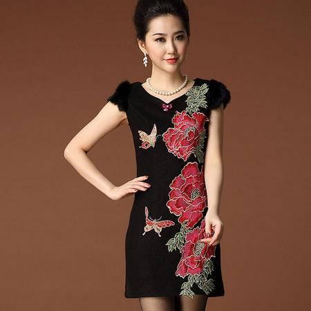 2015春秋季新款中国风女装毛呢重工刺绣牡丹花复古收腰连衣裙