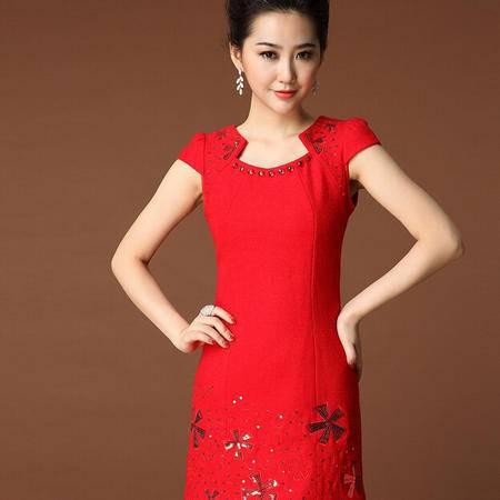 春秋季新款 复古高贵中国风手工钉珠亮片修身毛呢连衣裙